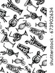 hand drawn vector pattern with... | Shutterstock .eps vector #673902634