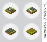 isometric road set of... | Shutterstock .eps vector #673907974