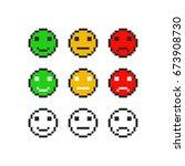 pixel emoji symbol faces... | Shutterstock .eps vector #673908730
