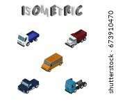 isometric automobile set of suv ...