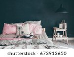 black and pink stylish loft... | Shutterstock . vector #673913650