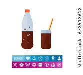 bottle and glass with cola | Shutterstock .eps vector #673913653