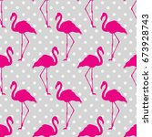 flamingo seamless pattern on... | Shutterstock .eps vector #673928743