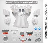 creation set of halloween... | Shutterstock .eps vector #673929370