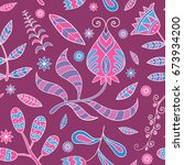 colored floral seamless texture ... | Shutterstock .eps vector #673934200