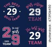 the best girls team college... | Shutterstock .eps vector #673936450