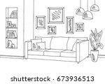 living room graphic black white ... | Shutterstock .eps vector #673936513