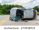 the old car accident scene... | Shutterstock . vector #673938919