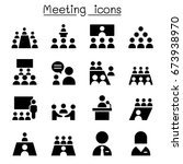 meeting   conference icons | Shutterstock .eps vector #673938970