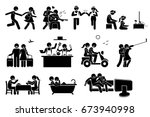 happy lover couple activities.... | Shutterstock . vector #673940998