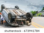 the old car accident scene... | Shutterstock . vector #673941784