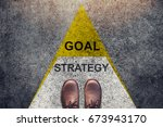 strategy and goal concept ... | Shutterstock . vector #673943170