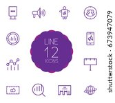 set of 12 trade outline icons... | Shutterstock .eps vector #673947079