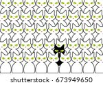 cute black and white cats.... | Shutterstock .eps vector #673949650