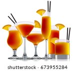 fresh fruit alcohol cocktail or ... | Shutterstock . vector #673955284
