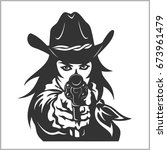 western girl with revolver  ... | Shutterstock .eps vector #673961479