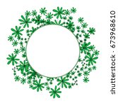 hand drawn round green frame of ... | Shutterstock .eps vector #673968610