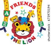 lion and friends  kids t shirt... | Shutterstock .eps vector #673970194