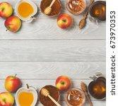 rosh hashanah jewish new year... | Shutterstock . vector #673970353