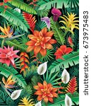 background from tropical flowers | Shutterstock .eps vector #673975483