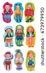 nine characters. set with... | Shutterstock .eps vector #673979950