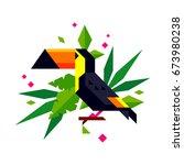 toucan bird character in the... | Shutterstock .eps vector #673980238