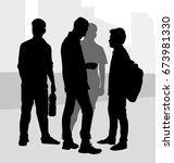 friends   silhouette | Shutterstock .eps vector #673981330