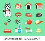 cartoon siberian husky dog and... | Shutterstock .eps vector #673982974