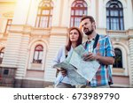 couple tourist traveling and... | Shutterstock . vector #673989790