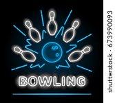 bowling neon sigh. vector clip... | Shutterstock .eps vector #673990093