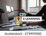 e learning on the virtual... | Shutterstock . vector #673995580