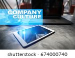 company culture text on virtual ... | Shutterstock . vector #674000740