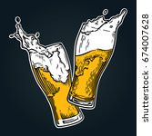 two glasses of beer toasting... | Shutterstock .eps vector #674007628