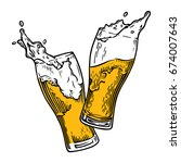 two glasses of beer toasting... | Shutterstock .eps vector #674007643