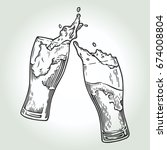 two glasses of beer toasting... | Shutterstock .eps vector #674008804