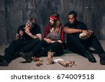 bad habits. people smokes and... | Shutterstock . vector #674009518