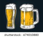 glass of beer isolated on black ... | Shutterstock .eps vector #674010880