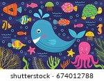 marine animals in the sea   ... | Shutterstock .eps vector #674012788