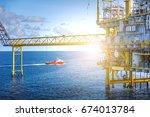 industrial petroleum production ... | Shutterstock . vector #674013784