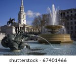 Fountains in Trafalgar Square - stock photo