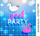 pool party invitation with pool ... | Shutterstock .eps vector #674017780