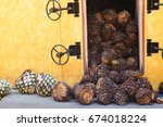 tequila production pina husks...   Shutterstock . vector #674018224