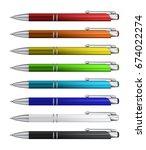 set of realistic ball pens
