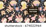 old school tattoo seamless...   Shutterstock .eps vector #674022964