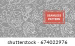 old school tattoo seamless... | Shutterstock .eps vector #674022976