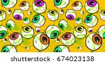 abstract eye seamless pattern.... | Shutterstock .eps vector #674023138