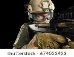 male in uniform of tactical... | Shutterstock . vector #674023423