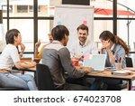 group of creative worker... | Shutterstock . vector #674023708