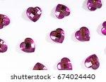 rhinestone background. heart... | Shutterstock . vector #674024440
