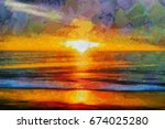 A Bright Sunset With Waves On...